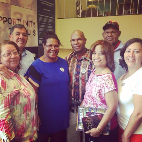 Several of the 40+ Papua New Guinea guests at the Assemblies of God Centennial meet Hispanics from the East Coast. Assemblies of God National Offices, Springfield, MO, August 4, 2014.