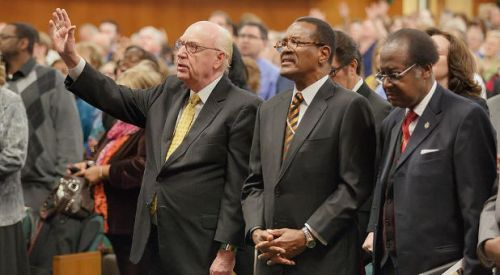 AG General Superintendent George O. Wood and COGIC Presiding Bishop Charles E. Blake, November 26, 2013, at the Assemblies of God National Office chapel.