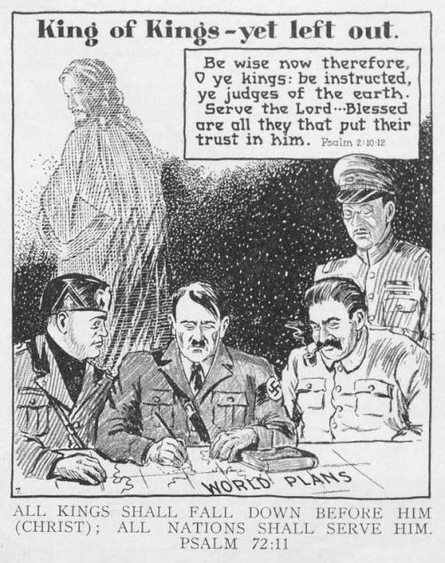 Cartoon published in the Pentecostal Evangel, June 29, 1940.