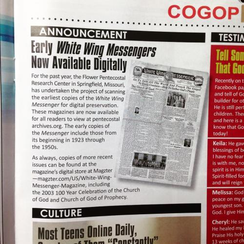 Announcement of the digitized periodicals in the June 2015 issue of the White White Messenger