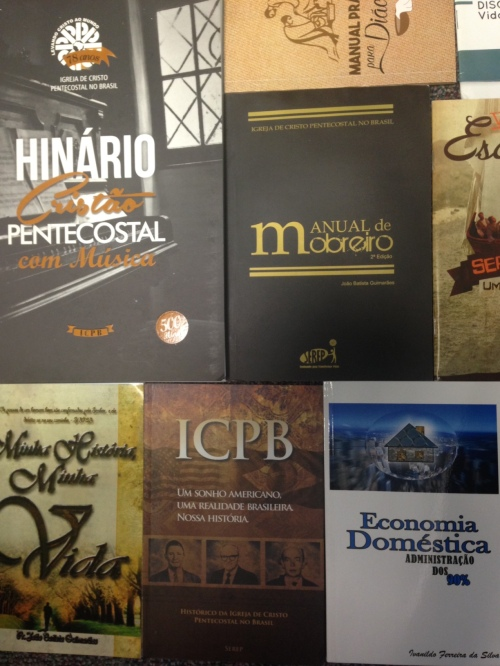A small portion of the collection of Igreja de Cristo Pentecostal no Brasil publications deposited at the Flower Pentecostal Heritage Center