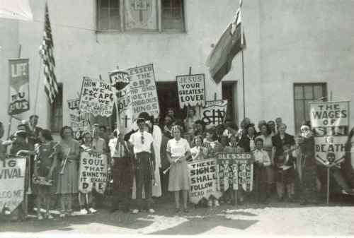 Verna Hall Leads a Hallelujah Parade in San Diego. CA about 1940 Verna is front center with clarinet